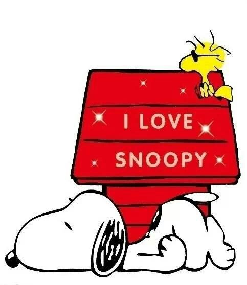 I Love Snoopy Snoopy Lying On The Ground By His Doghouse With