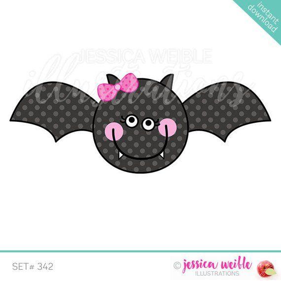 Girly Bat Cute Digital Clipart Halloween Bat Clip art ...