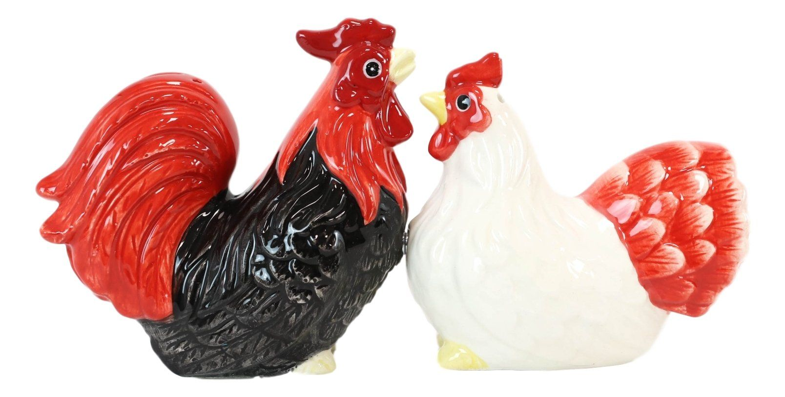 Ebros Chicken Black Rooster And White Hen Magnetic Salt And Pepper Shakers Set In 2021 Stuffed Peppers Ceramic Rooster Salt Pepper Shakers