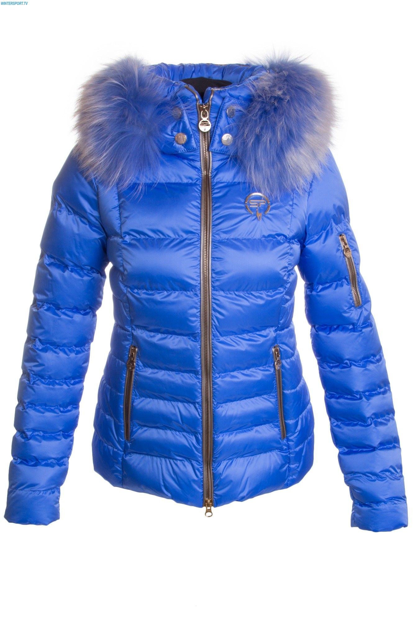 095bb98036 Sportalm Women Kyla Jacket with and Hood and Fur - Sky Blue