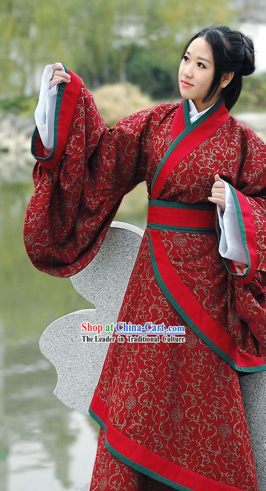 Ancient Chinese Red Princess Floral Han Fu Clothing Complete Set ...
