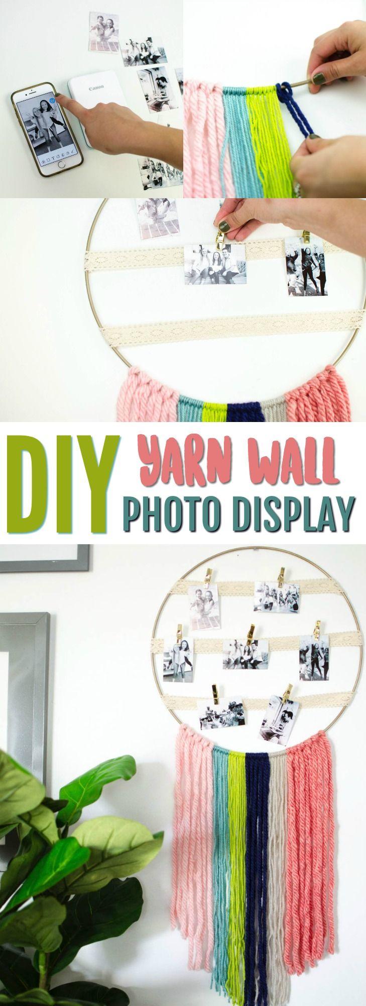DIY Yarn Wall Hanging Photo Display images