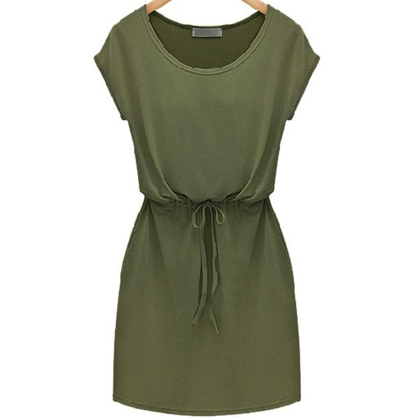SheIn(sheinside) Green Workwear Short Sleeve Careers Drawstring Slim... (545 UYU) ❤ liked on Polyvore featuring dresses, vestidos, green, robe, short dresses, short-sleeve shift dresses, knee length shift dress, green dress, green mini dress and knee length dresses