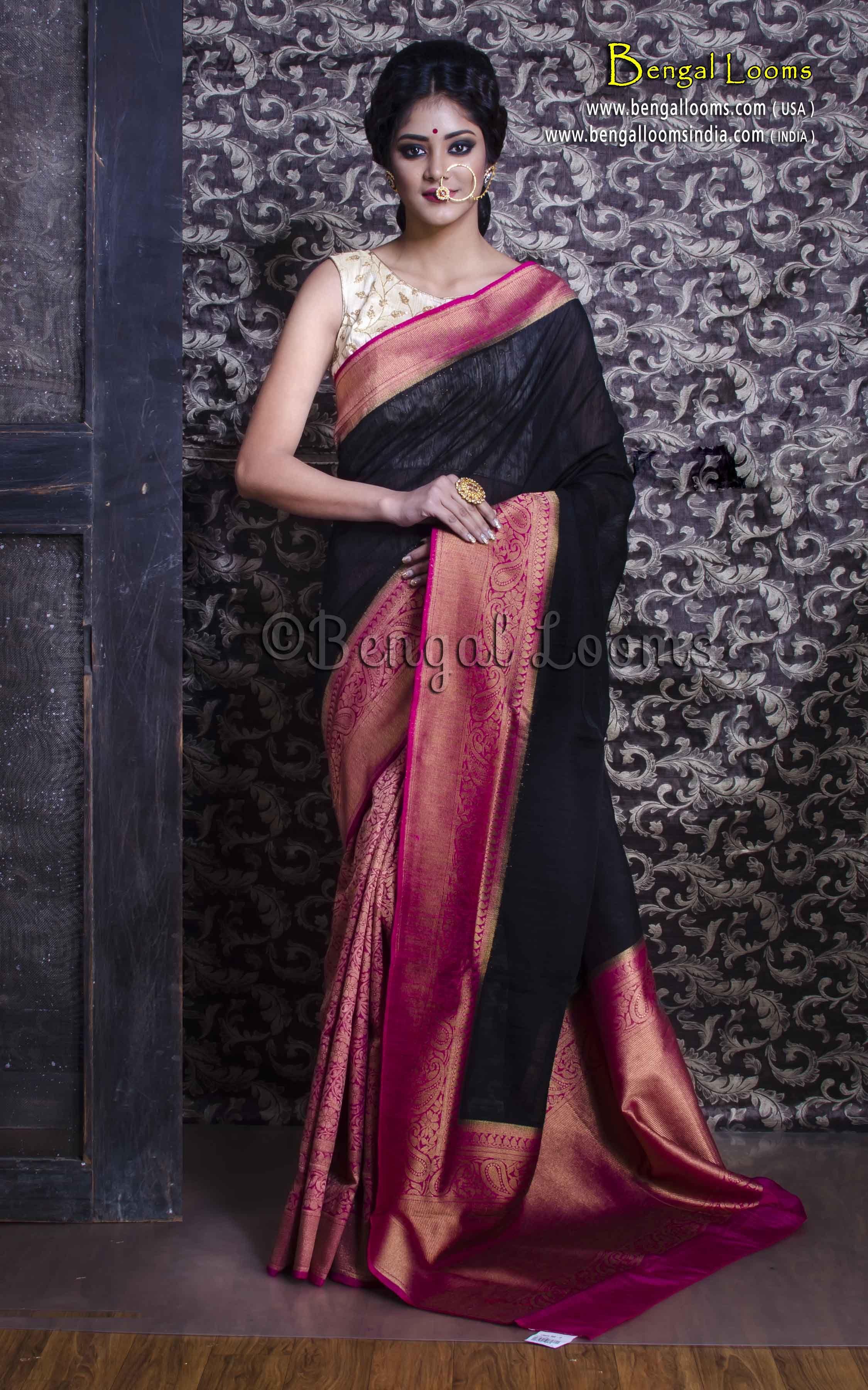 1f8b4c1774f Chanderi Cotton Half and Half Banarasi Saree in Black and Rani ...