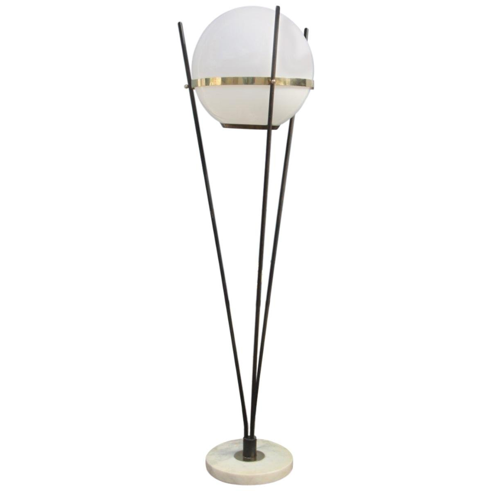 Round Mid Century Floor Lamp From Stilnovo 1950s For Sale At Pamono In 2020 Brass Floor Lamp Stilnovo Floor Lamp Italian Floor Lamp