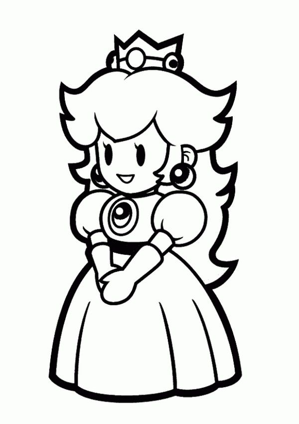 Princess Peach Coloring Pages To Print Peach Mario Bros Mario Bros Party Mario And Princess Peach