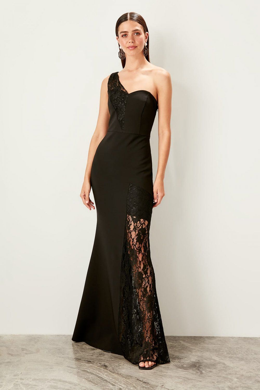 Trendyolmilla Tek Omuzlu Siyah Dantel Detayli Uzun Abiye Elbise Elbisebul Elbise Siyah Danteller The Dress