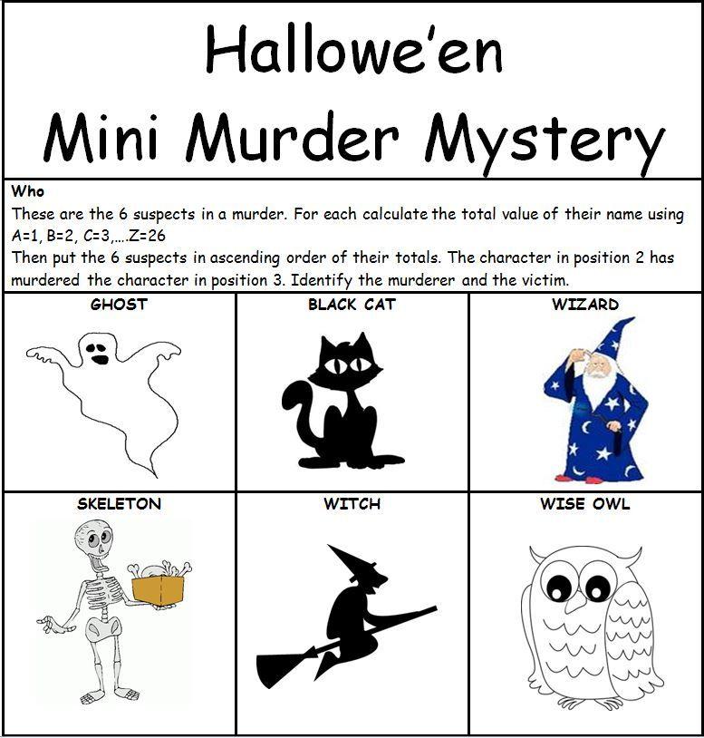 KS2 Maths mini murder mystery activity for Hallowe\'en. | School ...