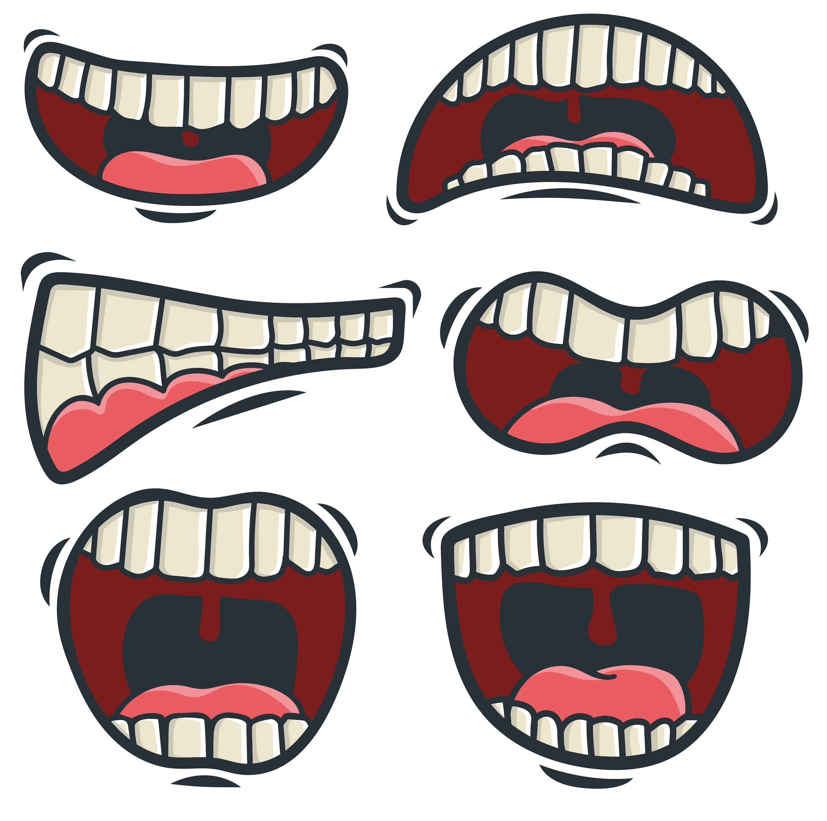 Vector Set Of Cartoon Mouth in 2020 (With images