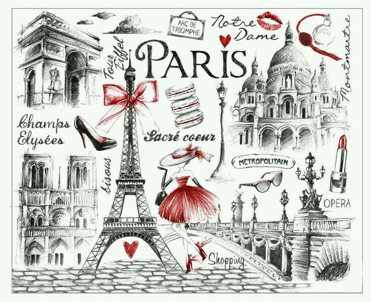Epingle Par Leci Sur Vintage Obrazky Carte Paris Paris Dessin