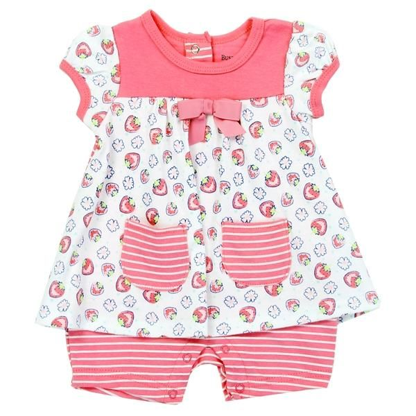 Buster Brown Baby Girls Strawberry Print Girls Romper is part of Baby Clothes Disney - 9 Months Made From 100% Cotton Brand Buster Brown Officially Licensed Buster Brown Baby Girls Clothes Warehouse Location in Pennsylvania