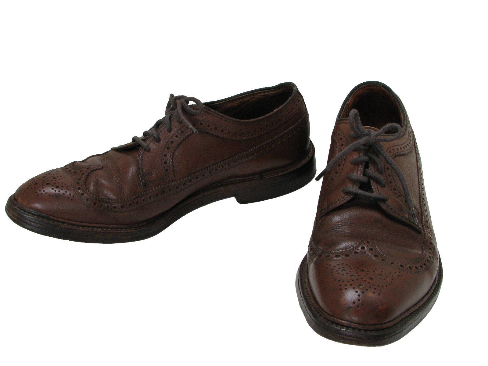 $35 Mens brown leather pebble grain wing tip brogues style dress shoes with  heavy leather soles