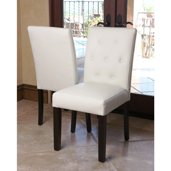 Ivory Dining Room Chairs Entrancing Abbyson Living Daniel Tufted Ivory Leather Dining Chair Set Of 2 2018