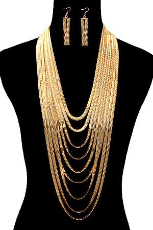 Le Chic Gold Layered Metal Mesh Necklace & Earring Set