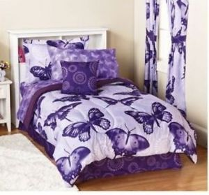 Butterfly Bed Sheets Queen Size Butterfly Comforter Set Shams Bed Skirt Sheets Purple White Purple Bedroom Decor Purple Sheet Comforter Sets