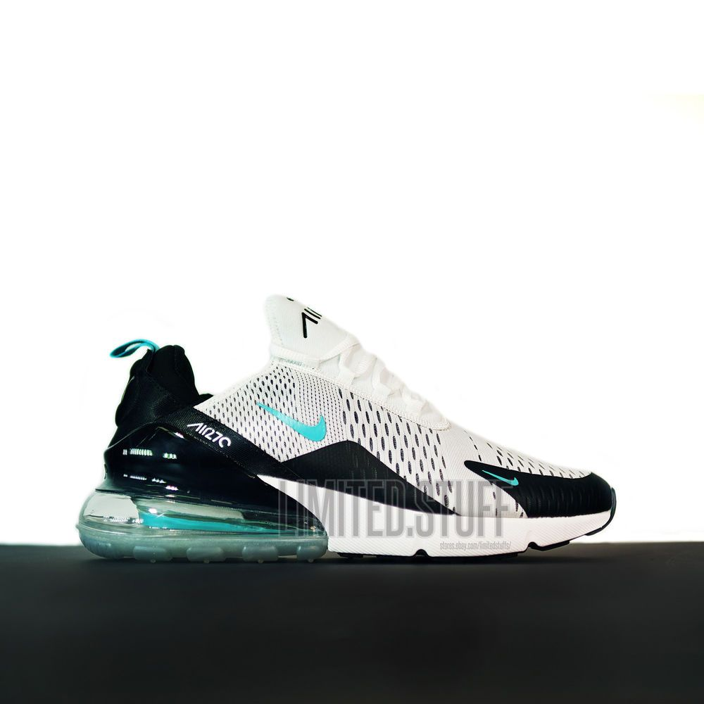 Nike Air Max 270 model 2018 - White/Cyan - Size 9.5 US 43 EU