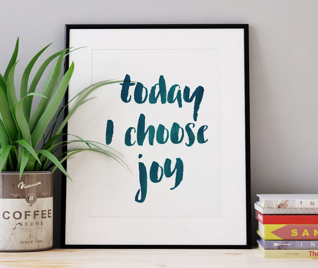 Today I Choose #Joy Print, Green Print, Inspirational Print, Typography #Quote, Motivational Poster, #Scandinavian Design, Gallery Wall, 24x36 by WhitePrintDesign on Etsy