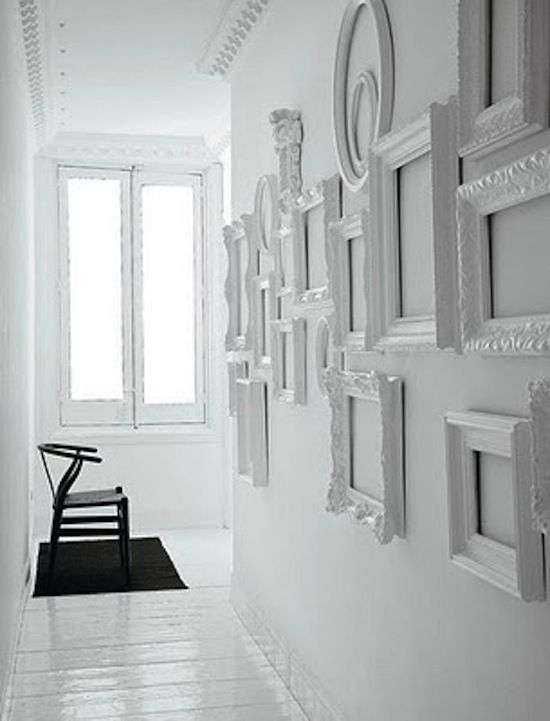 Love these white frames used as textural art. Black and white ...