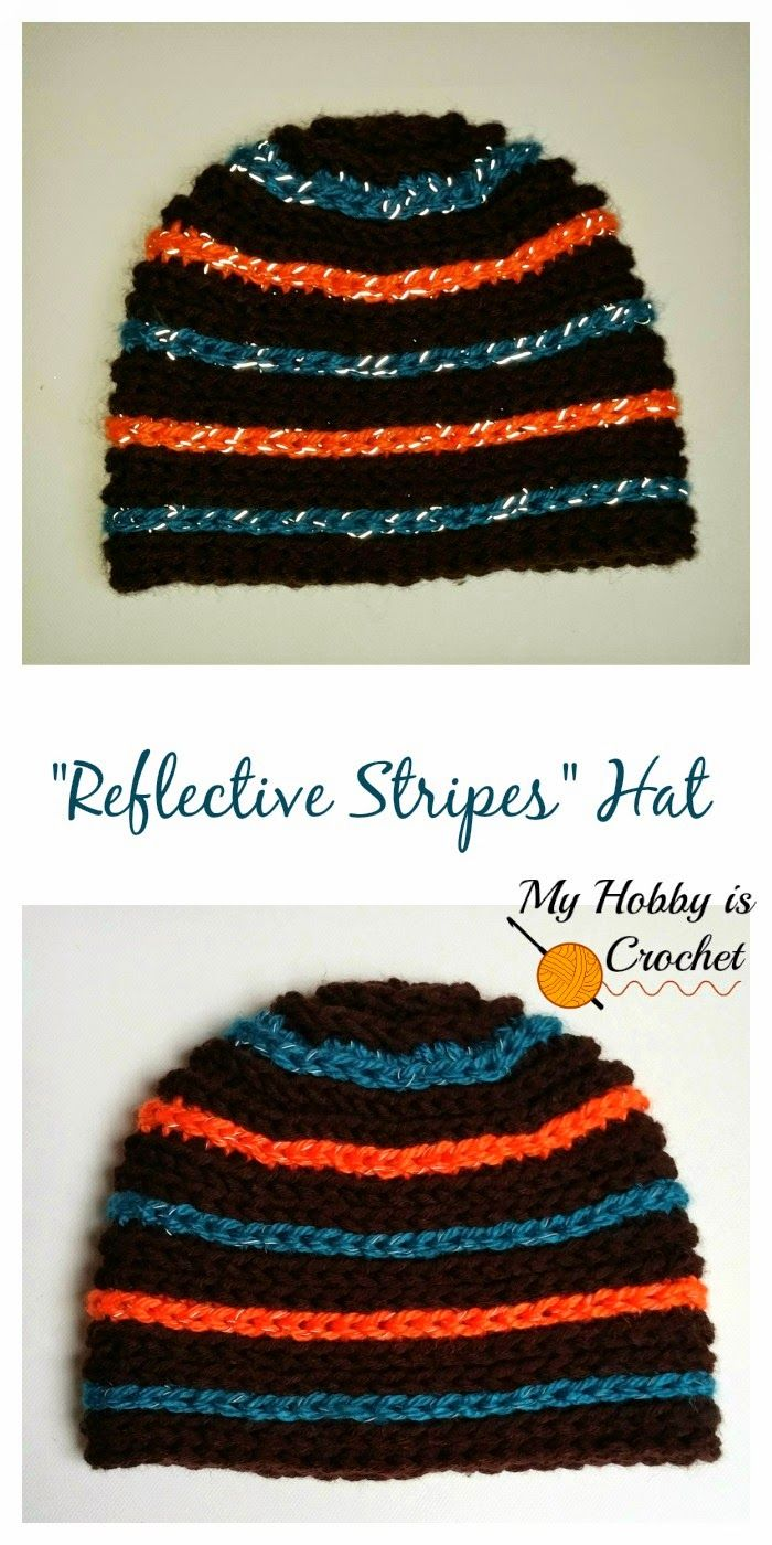 """Reflective Stripes"" Hat for Children and Adults - Free Crochet Pattern #crochethatpatterns"
