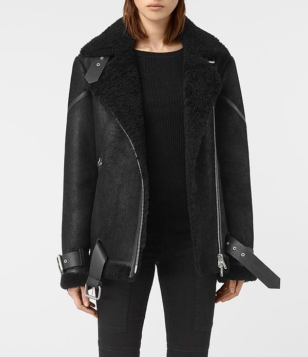 Womens Hawley Oversized Shearling Jacket (Black) - product_image_alt_text_1