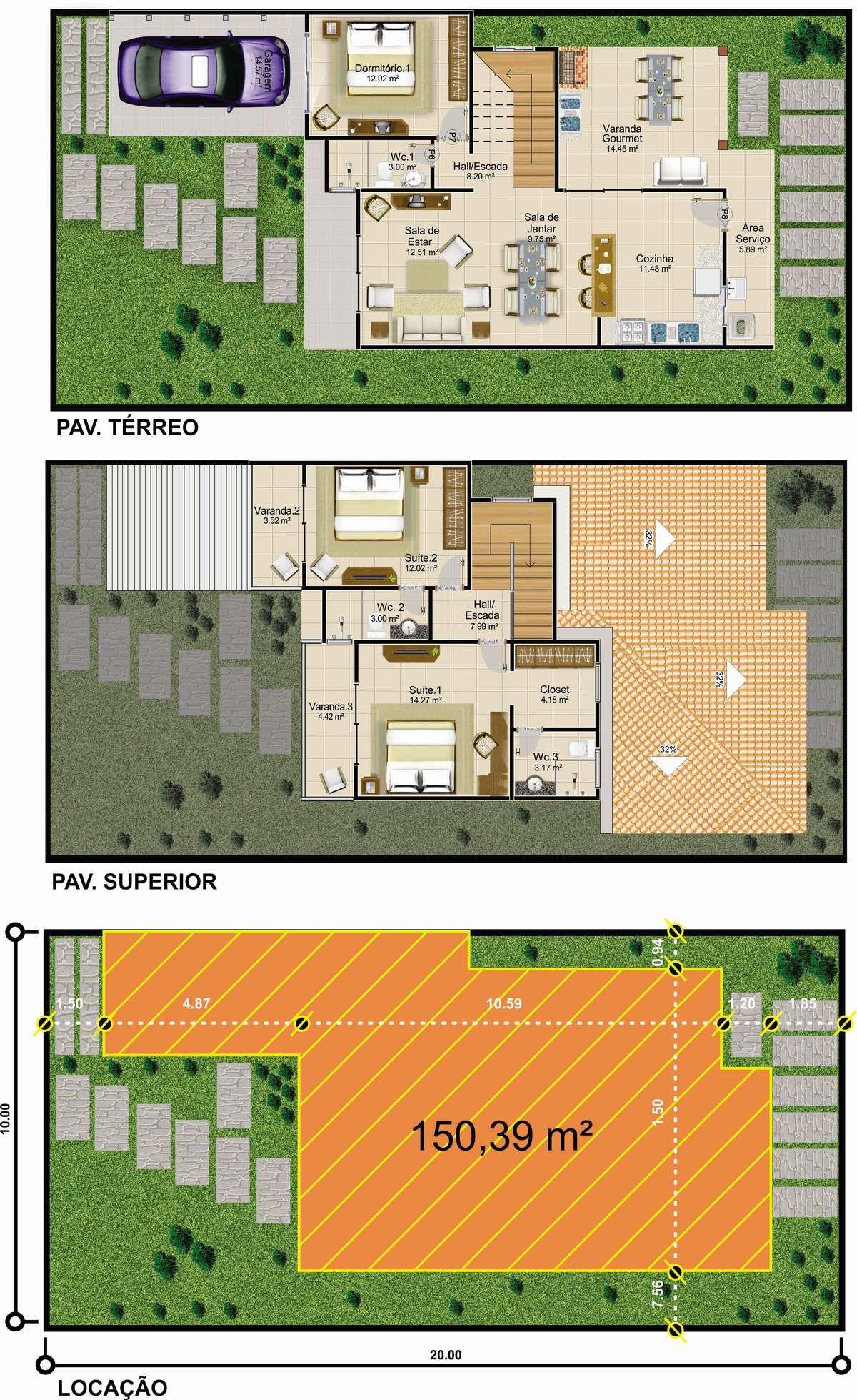 Projetar Casas Sobrado Em Linhas Modernas Com 1 Quarto E 2 Suites