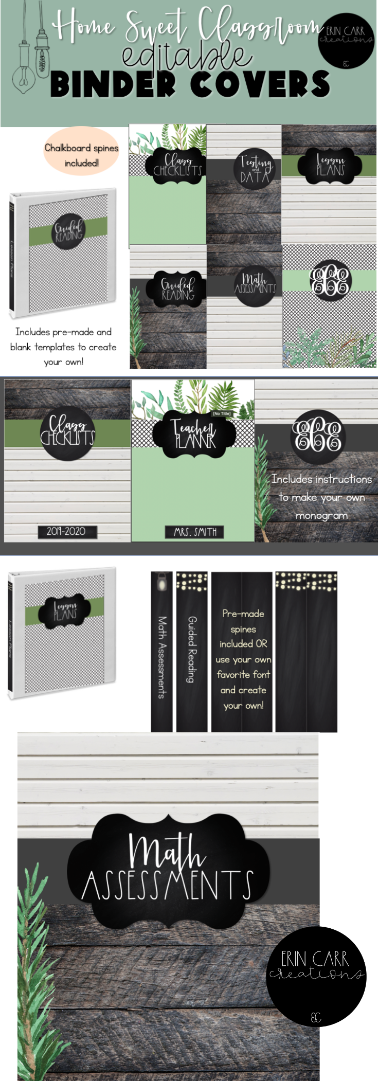 Lush greenery, white shiplap, rustic wood, and chalkboard all come together to create a calm farmho