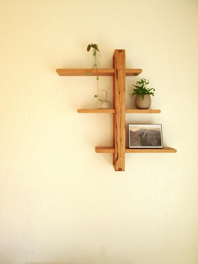 Shift Shelf Modern Wall Shelf Solid Cherry For Hanging Etsy In 2020 Wood Wall Shelf Modern Wall Shelf Wood Bookshelves