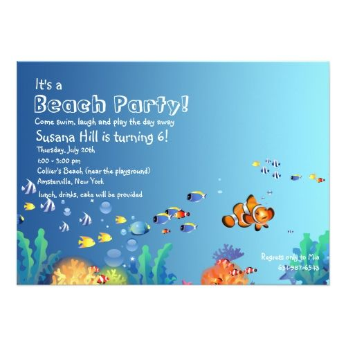 Tropical Fish Beach Birthday Party Invitation | Zazzle.com #tropicalbirthdayparty