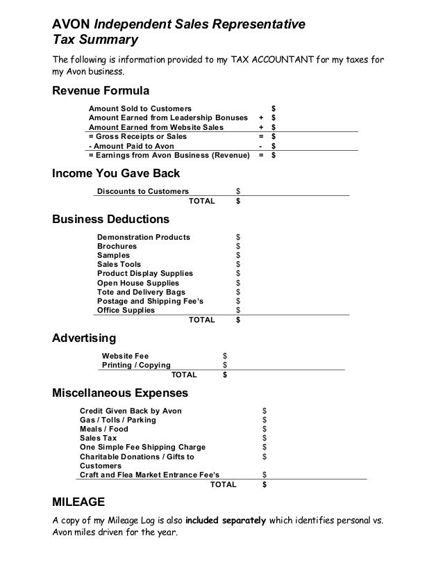 Avon Independent Sales Representative Tax Summary The Following Is Information Provided To My Tax Accountant Fo Avon Representative Business Avon Avon Business