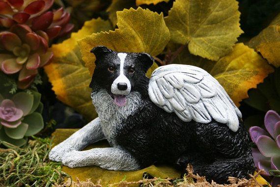 Border Collie Angel Statue Concrete Dog Memorial Border Collie Art Dog Memorial Border Collie Art Angel Statues