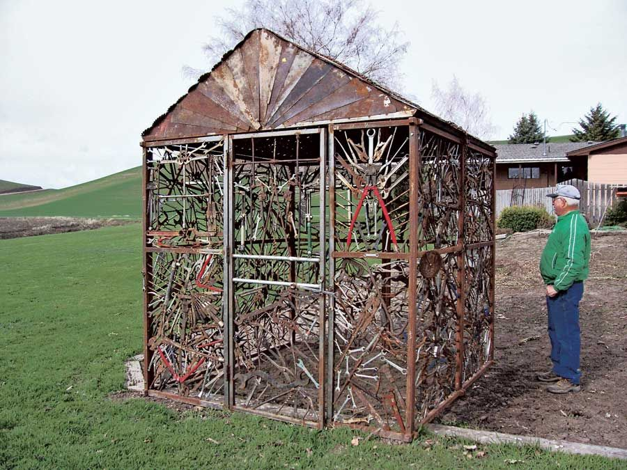 Built entirely of antique tools this shed is a celebration of