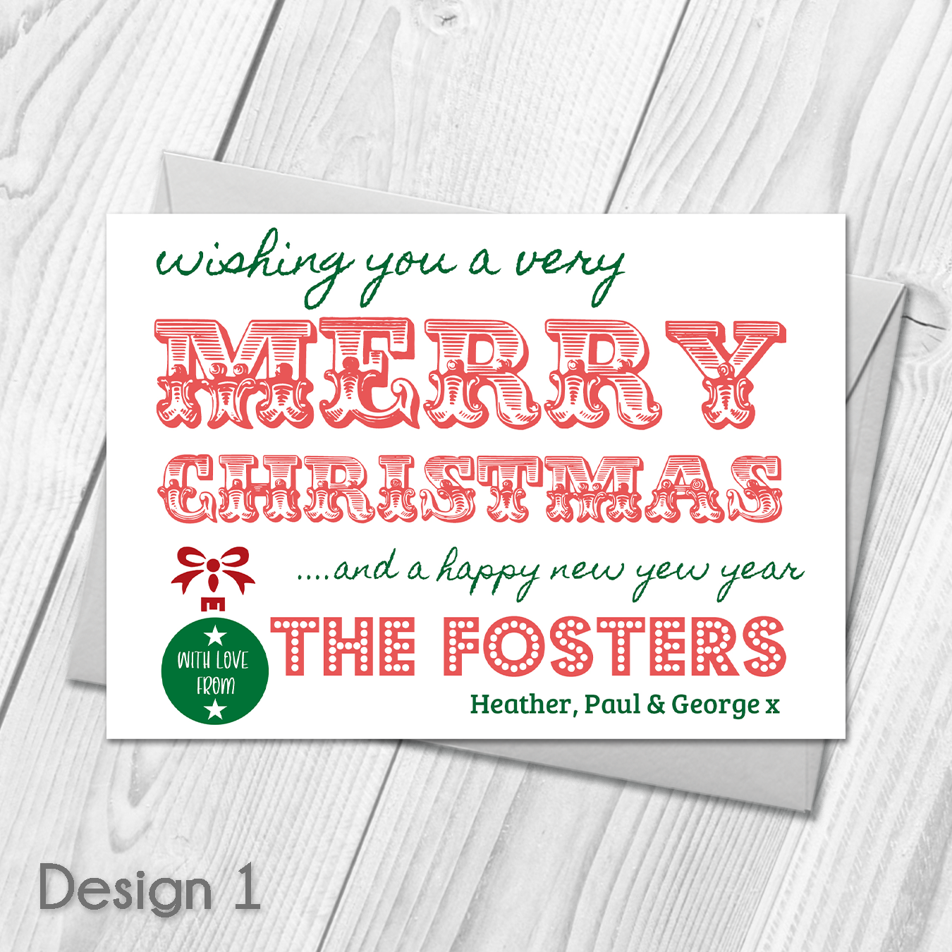Personalised Pack of Christmas Cards | Merry Christmas Postcards ...