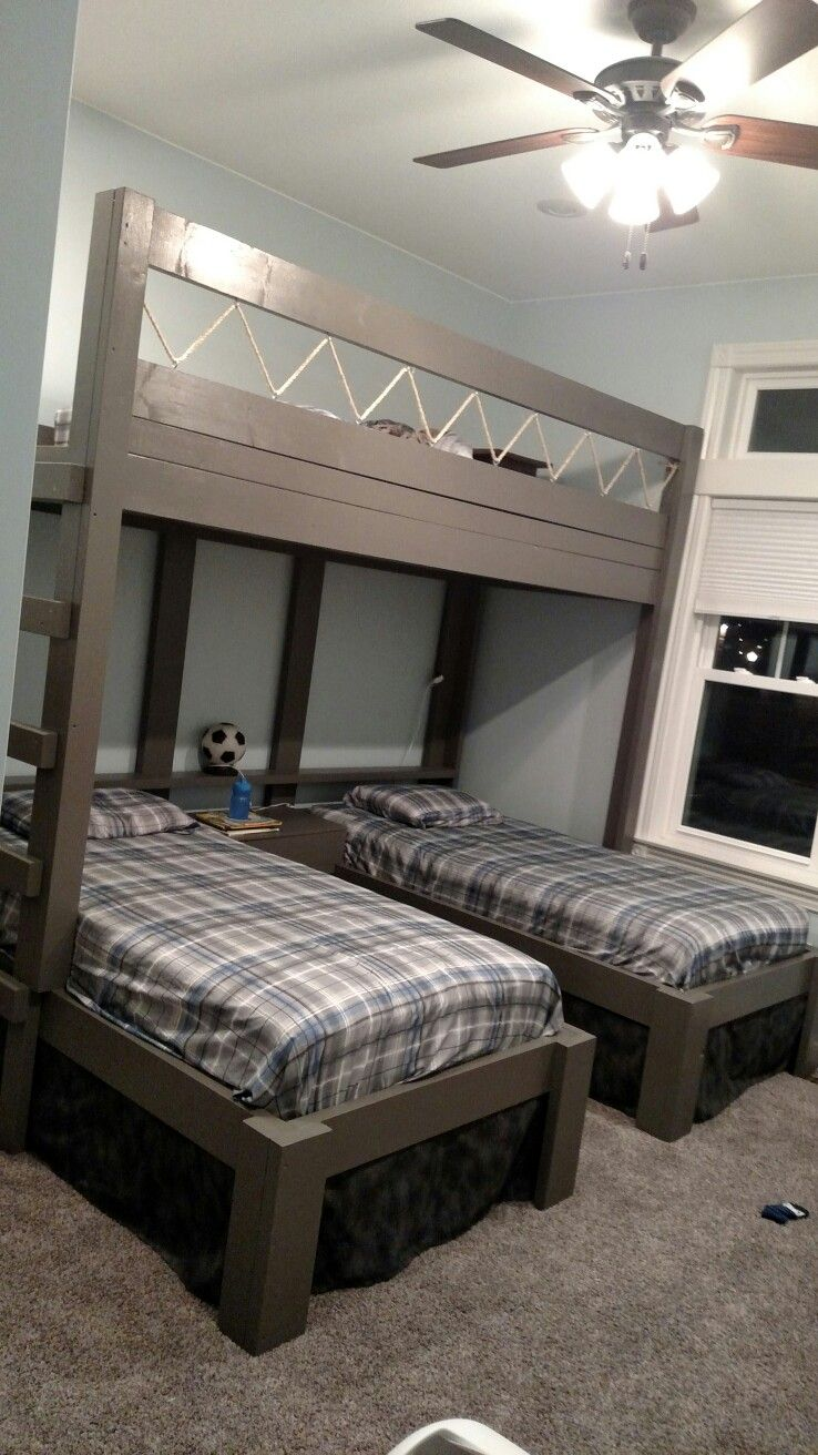 Triple bunk beds for boys house stuff pinterest for Bunk bed bedroom designs