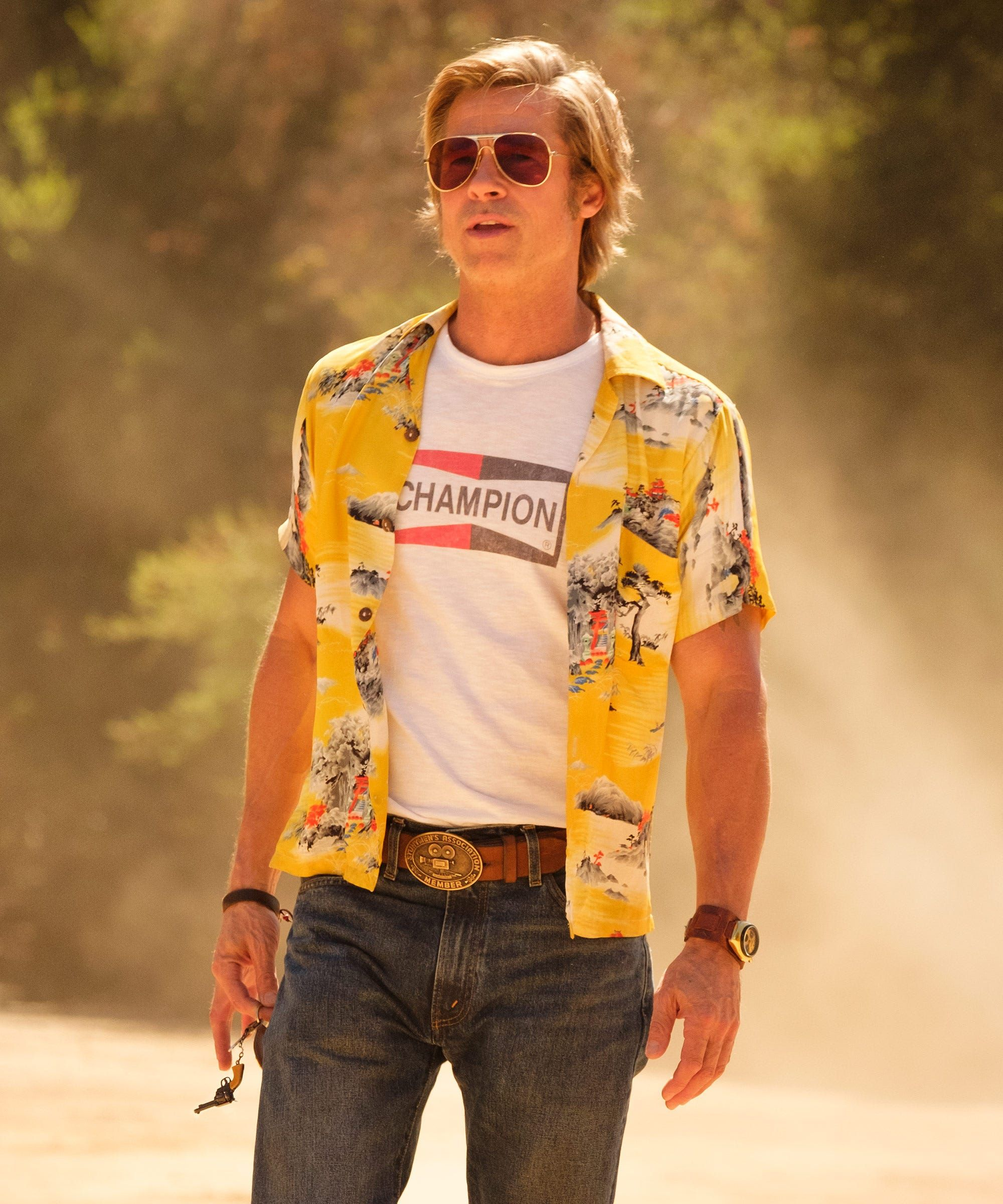 The Fact Fiction Of Once Upon A Time In 8230 Hollywood S Cliff Booth Refinery29 In 2020 Brad Pitt Brad Pitt News Champion Shirt
