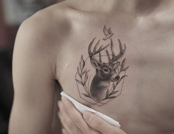 Deer And Dove Chest Tattoo Tattoos Deer Tattoo Tattoos