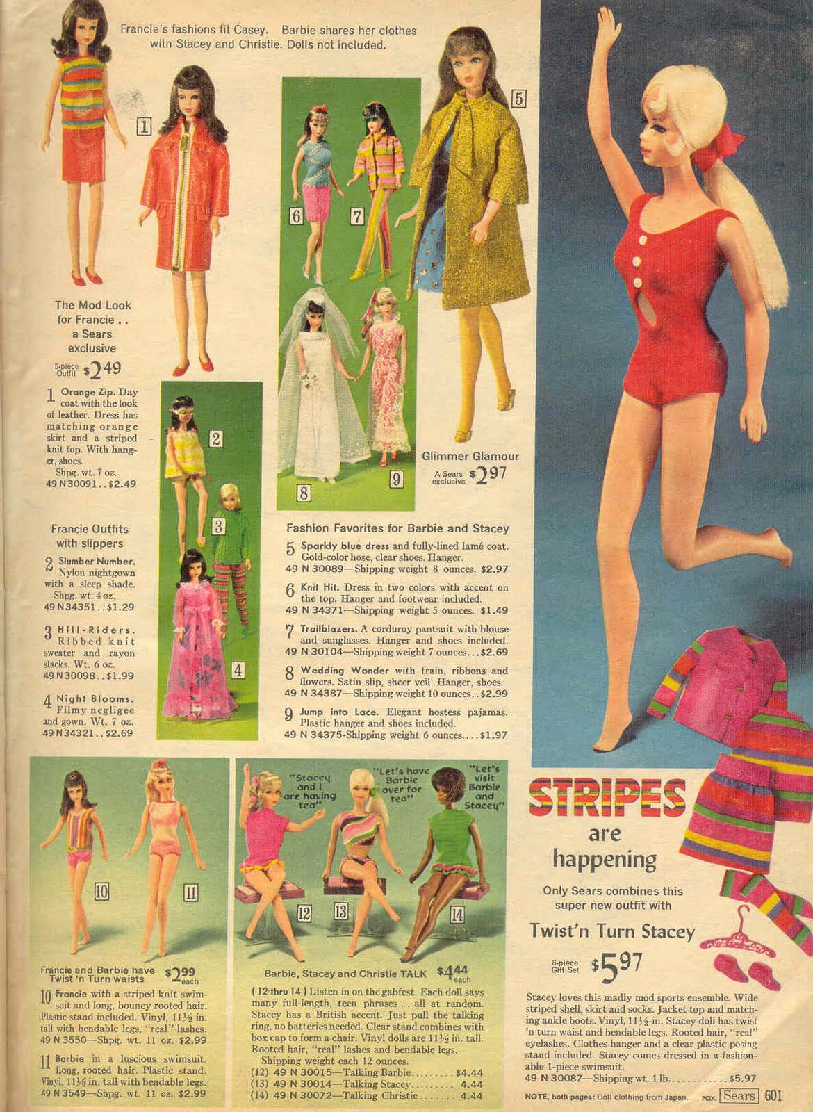 d21ad542cc75 1968 Sears Christmas Wishbook Wishbook Catalog Page - Mod TNT Barbie,  Stacey and Francie, Talking Barbie, Stacey and Christie with 3 Mod Pink /  Purple Posin ...