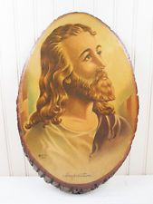 Vintage Jesus Wood Slab Decoupage Wall Art Plaque Christian Wooden Religious