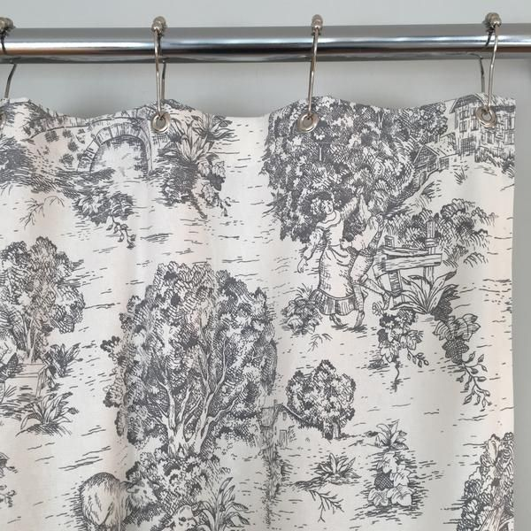 Our Classic 72x72 Gray Toile Shower Curtain Features A Farmhouse