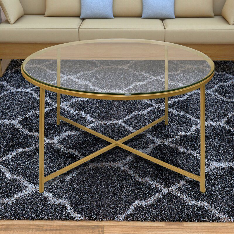 Dryer round metal coffee table with tray top coffee