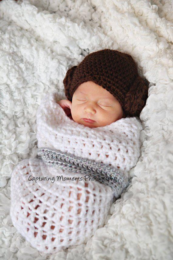 Looks like princess Leia - inspired by star wars. Photo prop. Handmade  cocoon -swaddle sack newborn e4b16c677e6