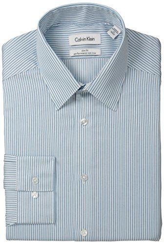 6e83e5d75af9 Calvin Klein Men's Slim Fit Non Iron Light Stripe, Cornflower Blue, 17 32/