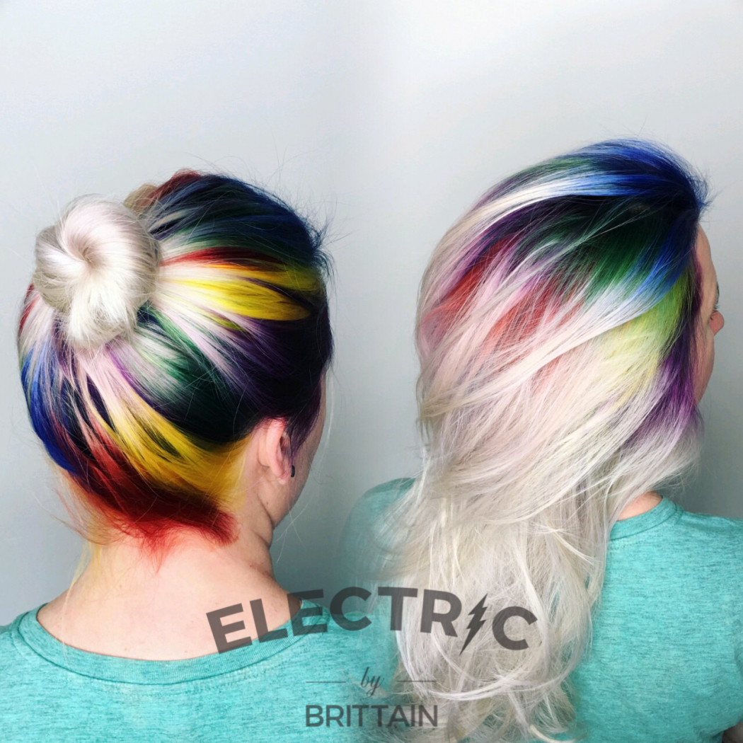 Brittain (@styleelectric), a stylist at The Establishment, an Aveda-Concept Salon in the Silver Lake neighborhood of Los Angeles, used all Aveda colors to create a rainbow of colors for her client. She did a diamond pattern up the head. FORMULAS Yellow 25g yellow 25g 10vol Green 15g 0n 16g green 2g yellow 25g 10vol Blue 10g 0n 15g Blue 25g 10vol Purple