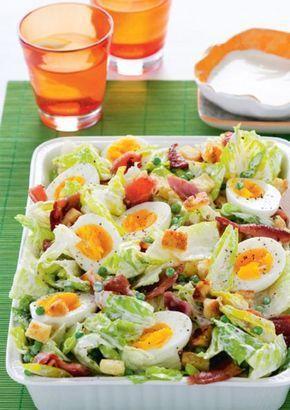 Recept Voor Ceasarsalade Met Bacon En Croutons De Croutons Weglaten Of Van Atkins Brood Maken Lekker Eten Saladerecepten Gezonde Recepten