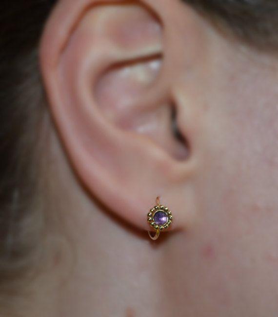 f8508a875 TRAGUS JEWELRY // Gold Tragus Earring 3mm Amethyst 16g - Nose Hoop - Forward  Helix Earring - Daith E