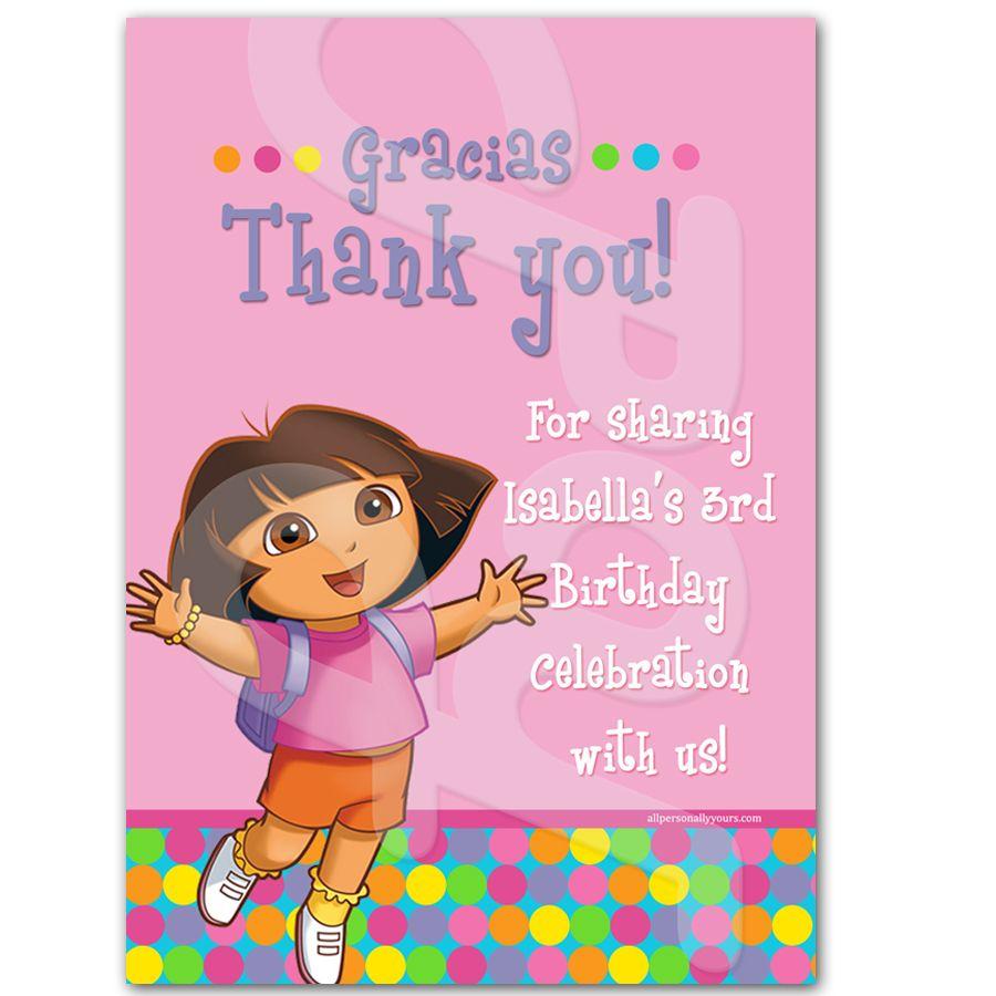 Dora The Explorer Personalized Thank You Cards Personalized Thank You Cards Thank You Cards Dora The Explorer