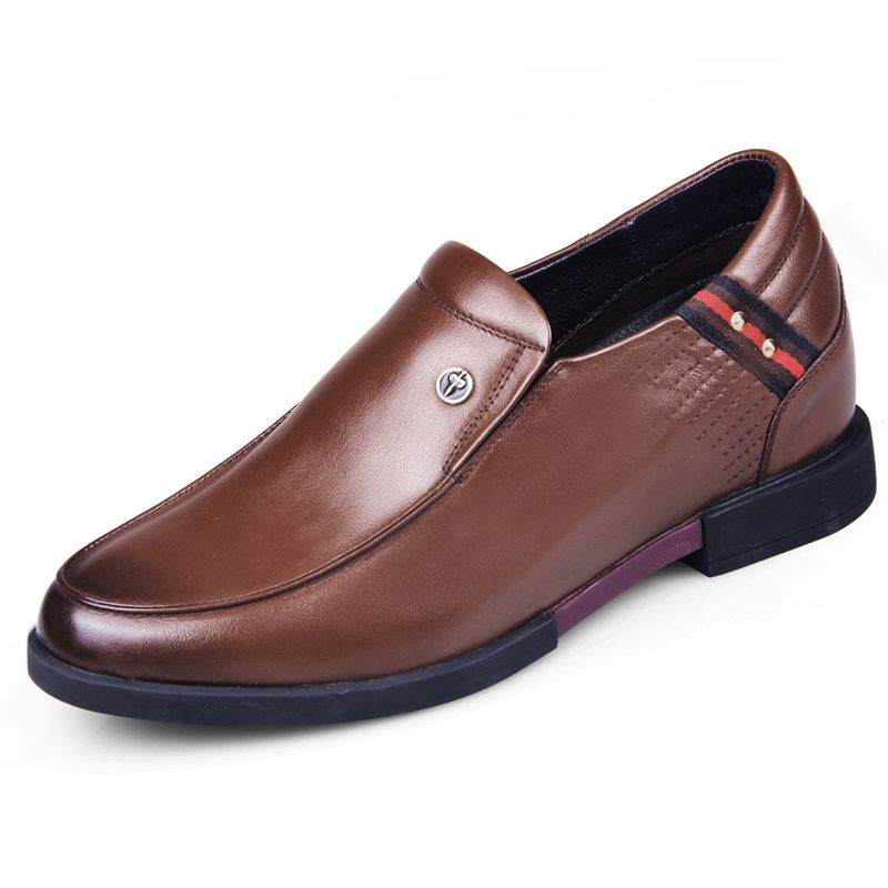 Classy slip on heighten casual shoes 6cm / 2.36inch brown calfskin taller loafers