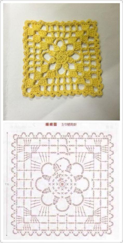 方形简单钩针单元花。 | grannys | Pinterest | Ganchillo, Croché y ...