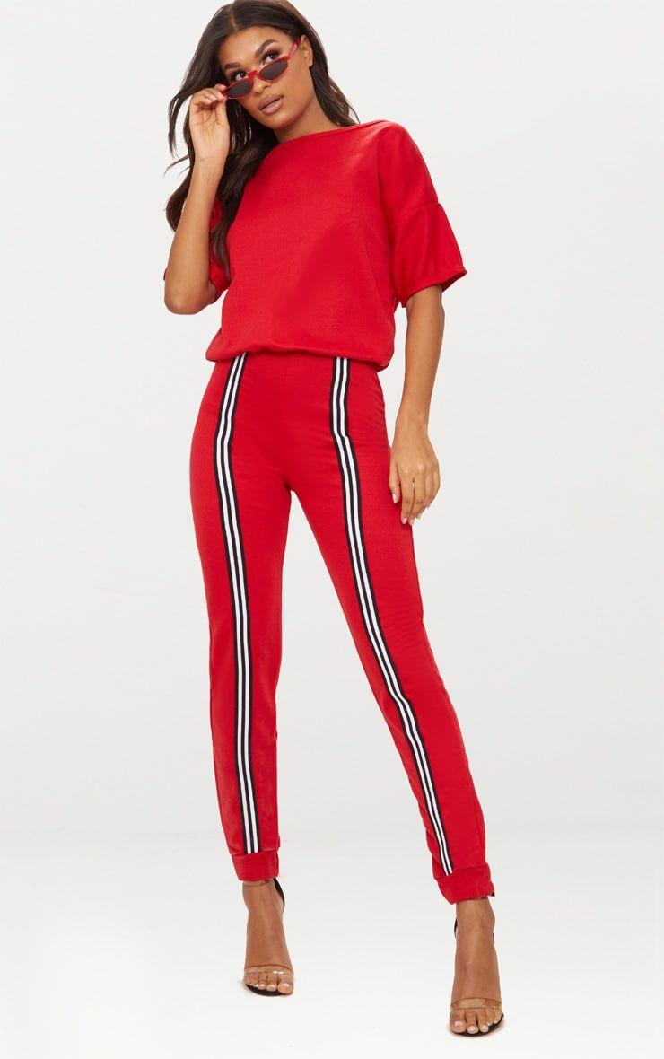 d1f949c5807 Red Loop Back Stripe Sports Jumpsuit in 2018