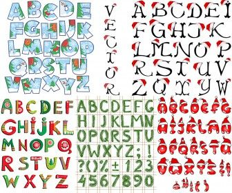 Xmas alphabet templates vector free download