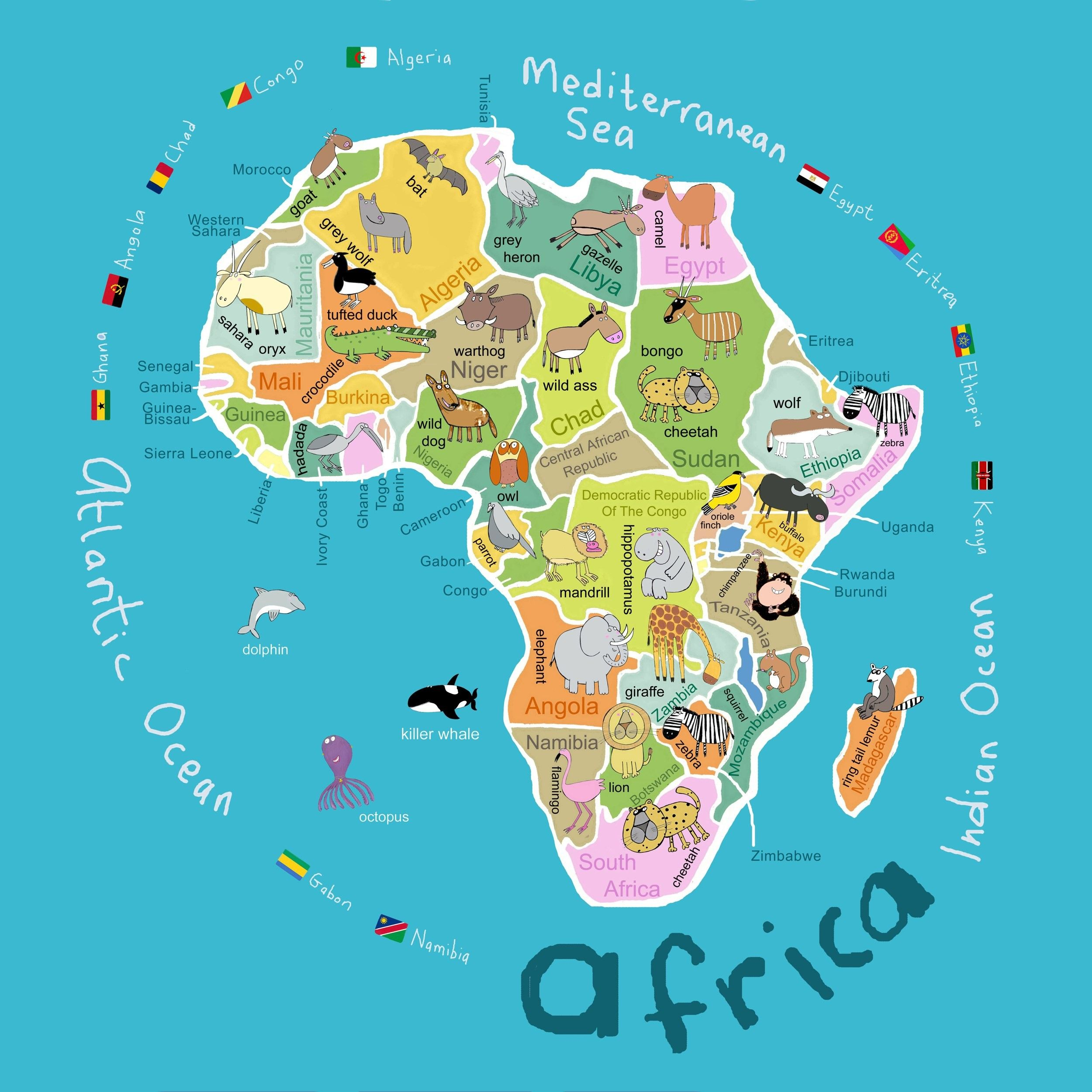 Kid's Map of Africa   Maps.| Africa map, Maps for kids, Map